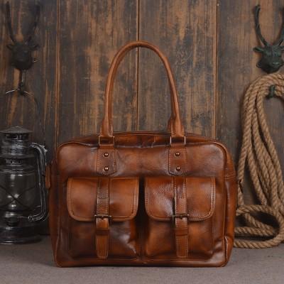 2017 Sale Direct Selling Mens Bags Genuine Leather Handbags Vintage Totes Briefcases Natural Cow Shoulder Bag Male Messenger