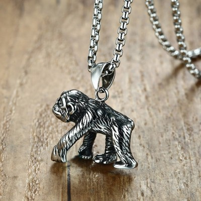 Mens Gorilla Pendant Necklace in Silver Stainless Steel Great Ape collares collier colar kolye Animal Planet Male Jewelry 24