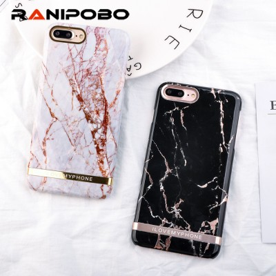 Luxury Rose Gold Marble Print Phone Case For iphone 7 Case Fashion Letter Hard PC Cover Cases For iphone 7 7 PLus 8 8 Plus