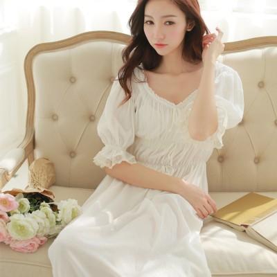 Sleepwear Princess Nightgown Vintage Sleepwear Queen Dressing gown Morining Dress Cotton Gown European style