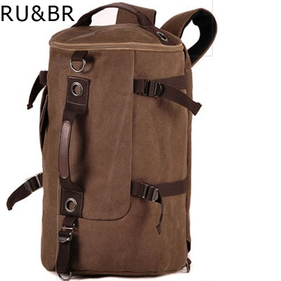 RU&BR 2019 Large Capacity Man Travel Bag Mountaineering Backpack Men Bags Canvas Bucket Shoulder Bag