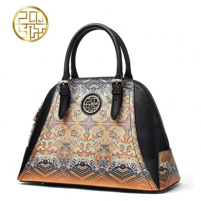 PMSIX superior cowhide Genuine leather bag Designer handbag Printing hit color fashion Shell bag tote women leather handbags