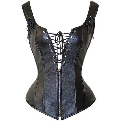 Womens Lace Up Faux Leather Corsets Vest 2019 New Stylish Steampunk Clothing Plus Size Gothic Overbust Corset Tops Bustier XXXL