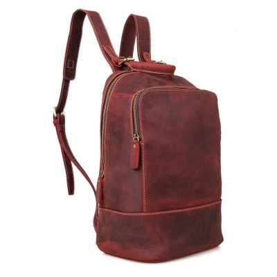 Men Backpacks Crazy Horse Genuine Leather Men Bag Mens Travel Bag Leather 14inch Laptop Backpack School Backpack for Teenager
